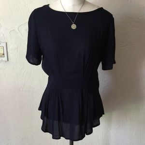Liberty love navy top with lace on the back